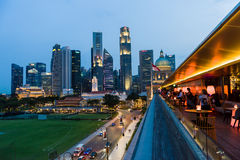 Night view of Singapore's majestic skyline and modern architectu Royalty Free Stock Photo