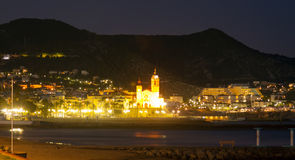 Night  view of Sitges Stock Photography