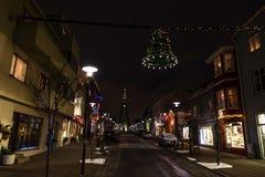 Night view of Skolavordustigur street Royalty Free Stock Photography