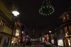 Night view of Skolavordustigur street Royalty Free Stock Photo