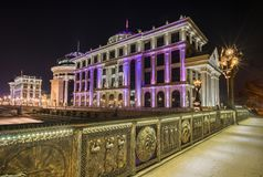Night view of the Skopje city center royalty free stock photos
