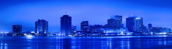 Night View of Skyline of New Orleans Stock Images