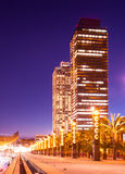 Night view of skyscraper in Port Olimpic. Center of nightlife at Barcelona, Spain Royalty Free Stock Images