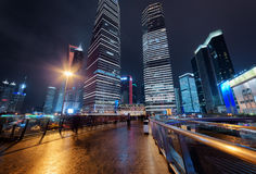 Night view of skyscrapers on Century Avenue in Shanghai Royalty Free Stock Photos