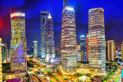 Night view skyscrapers, city building of Pudong, Shanghai, China Royalty Free Stock Photography
