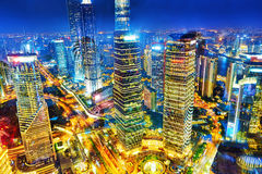 Night view skyscrapers, city building of Pudong, Shanghai, China. Beautiful and office skyscrapers,night view city building of Pudong, Shanghai, China royalty free stock photo