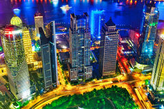 Night view skyscrapers, city building of Pudong, Shanghai, China Royalty Free Stock Photos