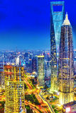 Night view skyscrapers, city building of Pudong, Shanghai, China Stock Photography