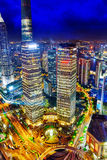 Night view skyscrapers, city building of Pudong, Shanghai, China Royalty Free Stock Photo