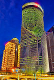 Night view skyscrapers, city building of Pudong, Shanghai, China Royalty Free Stock Images