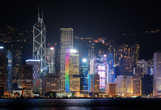 Night view of skyscrapers in downtown of Hong Kong Royalty Free Stock Photo