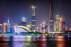 Night view of skyscrapers and the Pearl River. Guangzhou skyline. Night view of skyscrapers and other modern buildings at the Tianhe District of the Zhujiang New stock image