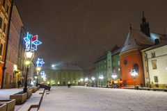 Night view of a small market in Krakow, Poland Royalty Free Stock Images