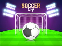 Night view of a soccer ground with flud lights, goal net and soc Royalty Free Stock Photos