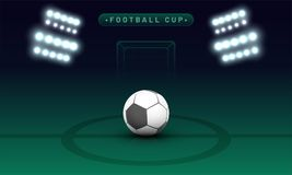 Night view of a soccer ground with flud lights, goal net and soc Royalty Free Stock Images