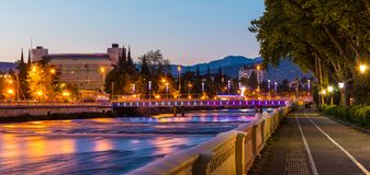 Night view of Sochi river and embankment Stock Photo