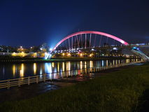 Night view of Songshan Rainbow bridge at Taipei Royalty Free Stock Photography