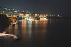 Night view of Sorrento, Italy. Travel background royalty free stock photos