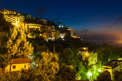 Night view of Sorrento and the Mediterranean Sea. Amalfi Coast, Italy Stock Photo
