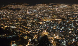 Night view of Southern Bogota. Night view of Bogota taken a clear night from Iglesia de Monserrate Royalty Free Stock Photos