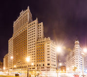 Night view Spain Building in Spain Square at Madrid Stock Photos