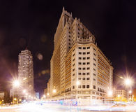 Night view  of Spain Square in Madrid Royalty Free Stock Photo