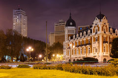 Night view of Spain Square in Madrid,= Stock Photography