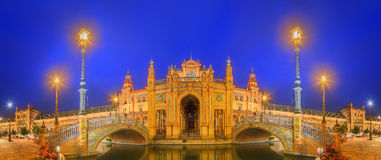 Night view of Spain Square, Seville, Spain Stock Photos
