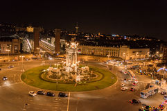 Night View of Spanish Square, Barcellona Stock Image