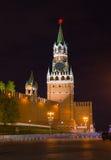 Night view of Spasskaya Tower - Moscow Kremlin Royalty Free Stock Images