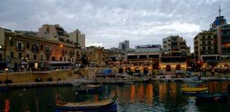 Night view at Spinola Bay , Malta. Stock Photo