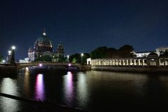 Night view by the Spree Stock Images
