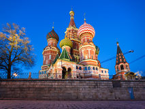 Night view of St. Basil Cathedral, Moscow Stock Images