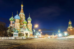 Night view of St. Basil`s Cathedral in Moscow winter Royalty Free Stock Photos