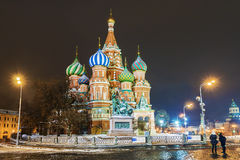 Night view of St. Basil`s Cathedral in Moscow winter Stock Image
