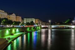 Night view from St Georges footbridge in Lyon city with Fourvier Stock Images