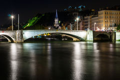Night view from St Georges footbridge in Lyon city Royalty Free Stock Photo