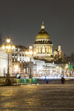 Night view of St. Isaac's Cathedral in the city of St. Petersbur Stock Photography
