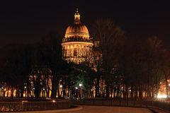 Night view of St. Isaac's Cathedral in St. Petersburg, Russia Royalty Free Stock Photography