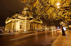 Night view of St. Isaac's cathedral in St. Petersburg, Russia Stock Photos