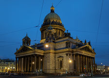 Night view of St. Isaacs cathedral in St. Petersburg, Russia Royalty Free Stock Photos