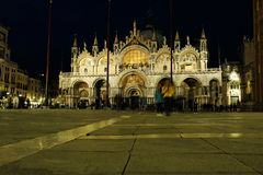 Night view on St. Mark`s San Marco Basilica in VEnice, Italy royalty free stock image