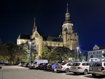 Night view of St. Mary`s Church in Stralsund, Germany Royalty Free Stock Photography