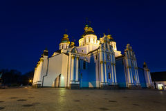Night view of St. Michael's Golden-Domed Monastery Stock Image