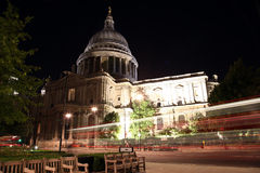 Night view of St Paul Cathedral in London Royalty Free Stock Photos