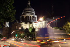 Night view of St Paul Cathedral  through night traffic and rays Royalty Free Stock Photos