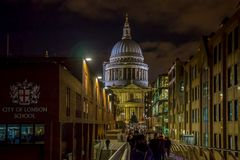 Night view of St Paul`s cathedral with City of London School sig. LONDON, UK - NOVEMBER 28, 2017: Night view of St Paul`s cathedral with City of London School Stock Photography
