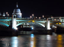 Night view St Paul's Cathedral and Southwark Br. Stock Photo