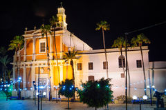 Night view of the St. Peter Church, in the old city of Jaffa Royalty Free Stock Images