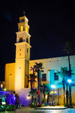 Night view of the St. Peter Church, in the old city of Jaffa Stock Photo